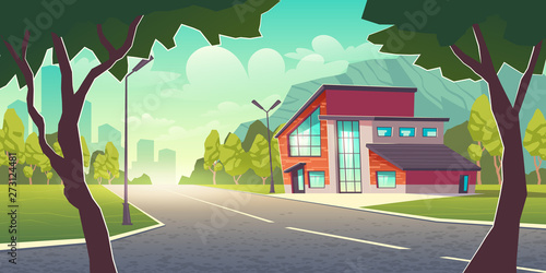 Cuadros en Lienzo Comfortable dwelling in clean place outside the town cartoon vector concept