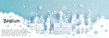Panorama Postcard And Travel Poster Of World Famous Landmarks Of Brussels, Belgium In Winter Season With Falling Snow In Paper Cut Style Vector Illustration