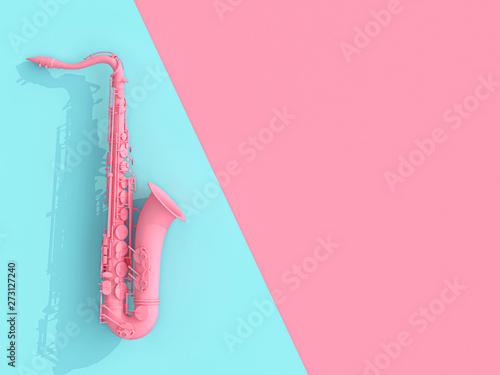 Obraz na płótnie saxophone image 3d render on pink and blue