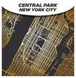 Gold Street Map of Central Park New York City and Surroundings on Dark Background