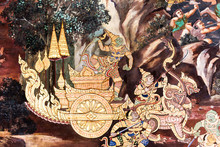 Ancient Thai Painting On Wall In Thailand Buddha Temple.