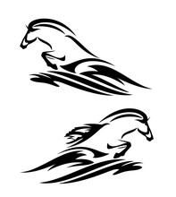 Wild Horse Jumping From Sea Wave Splash - Black And White Aquatic Life Vector Design