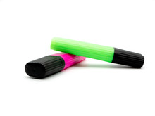 Pink And Green Highlighters Isolated On A White Background