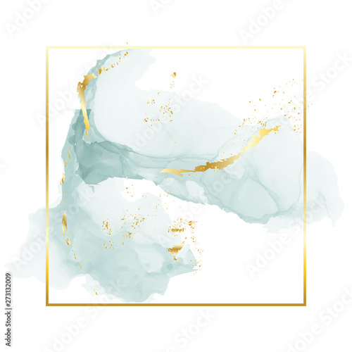Fotografie, Obraz Brush grey blue strokes in gentle tones and gold foil rectangle frame on a white background