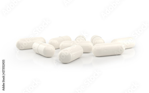 Fotografia  White Capsules isolated on white background