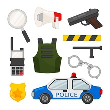 Vector Set Of Police Icons. Cartoon Illustration Of A Police Car, Handcuffs, Body Armor And Other Police Symbols.