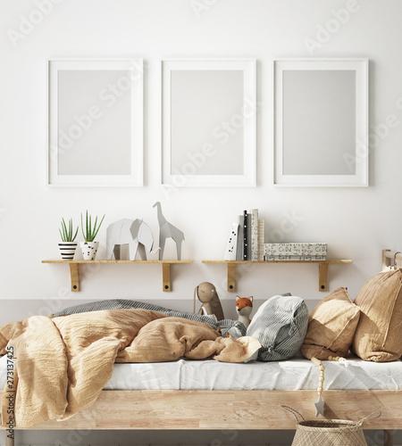 Fototapeta mock up poster frame in children bedroom, Scandinavian style interior background, 3D render, 3D illustration obraz na płótnie