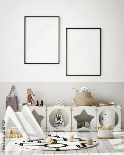 Canvas Prints Textures mock up poster frame in children bedroom, Scandinavian style interior background, 3D render, 3D illustration