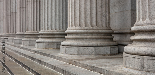 Stone pillars row and stairs detail. Classical building facade Wallpaper Mural