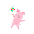 Funny pig with pinwheel at a party. Greeting card design.