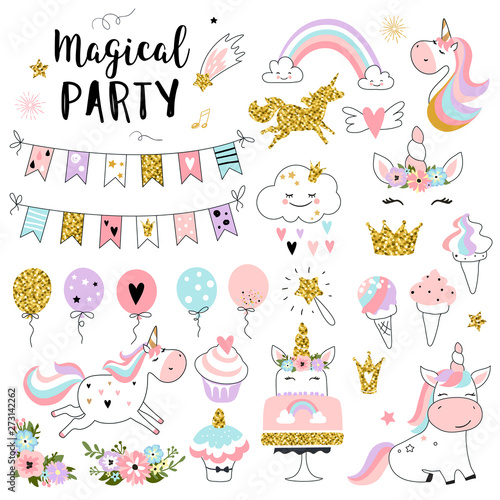 Unicorn magic party elements for greeting, birthday, invitation, baby shower card. Set of rainbow, sweets, crown, balloons, flags, cupcakes and other. Vector illustration.
