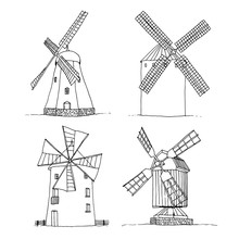 Windmills Set Vector Silhouettes Isolated On White Background, Hand Drawn Sketch Collection