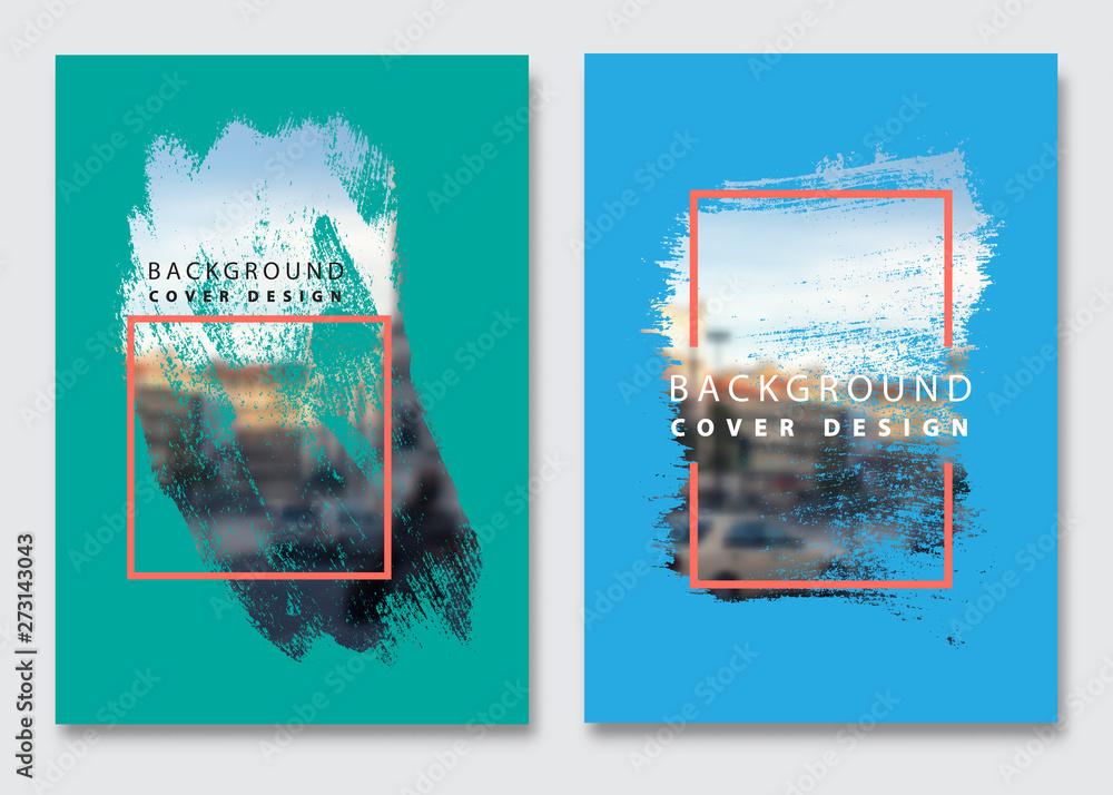 Fototapeta Vector paint brush clipping masks for flyer, presentation, brochure, banner, poster design. City blur background.