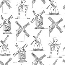 Windmills Vector Silhouettes Seamless Pattern, Hand Drawn Mills Vintage White Background