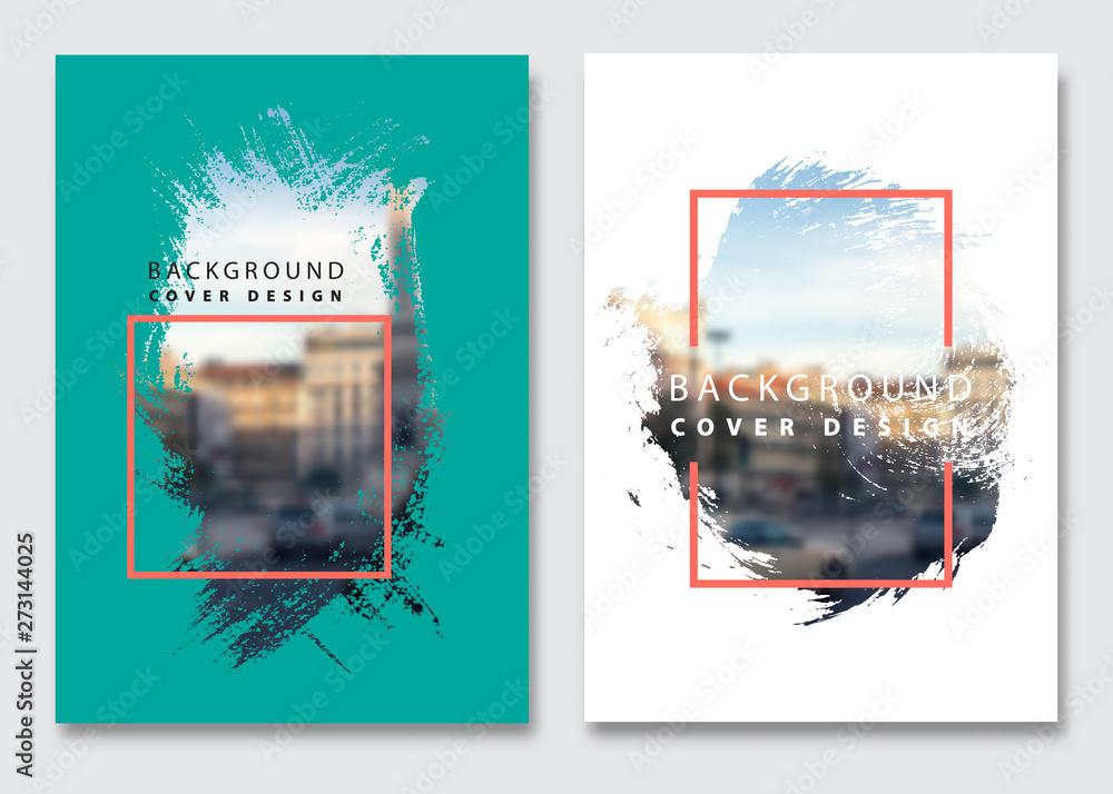 Fototapety, obrazy: Vector paint brush clipping masks for flyer, presentation, brochure, banner, poster design. City blur background.