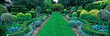 Panoramic view of the pattern border in the upper gardenof a country house garden
