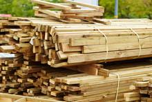 Piled Up Wooden Planks Bundles