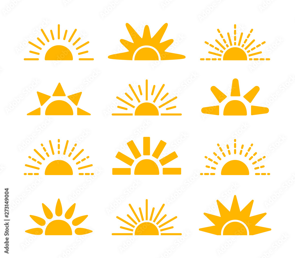 Fototapety, obrazy: Sunrise & sunset symbol collection. Horizon flat vector icons. Morning sunlight signs. Isolated object. Yellow sun rise over horison.