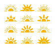Sunrise & sunset symbol collection. Horizon flat vector icons. Morning sunlight signs. Isolated object. Yellow sun rise over horison.