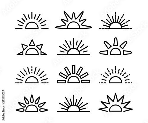 Fotografía Sunrise & sunset symbol collection