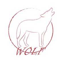 Howling Wolf In A Circle And Text In Red. Color Illustration For Stickers And Tattoo
