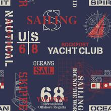 Nautical  Marine Sailing Elements Wallpaper Vector Seamless Pattern