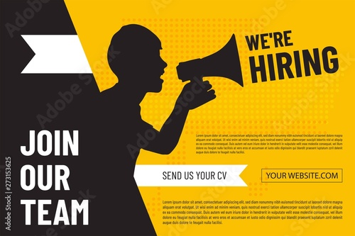 Cuadros en Lienzo We are hiring design poster with man and  megaphone