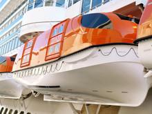 Closeup Of Lifeboats On A Cruise Ship