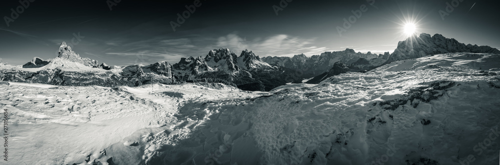Fototapety, obrazy: beautiful panoramic view on scenic landscape in tre cime di lavaredo dolomites mountain range in sunny snowy winter in black and white