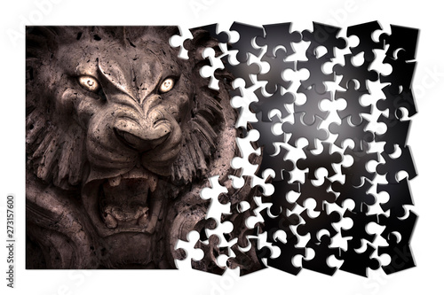 Fear and aggression management - Psychological concept image in jigsaw Wallpaper Mural