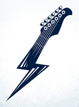 Electric Guitar Headstock In A Shape Of Lightning, Hot Rock Music, Hard Rock Or Rock And Roll Concert Or Festival Label, Night Club Live Show Band Performance, Vector Logo.