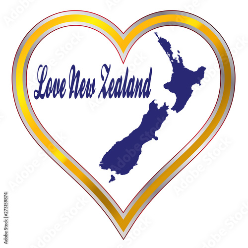 Love New Zealand Silhouette Canvas Print