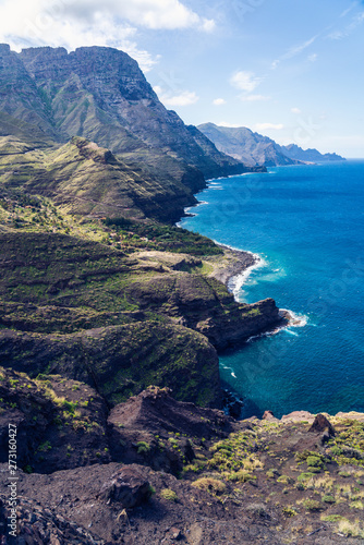 Printed kitchen splashbacks South Africa Playa de Guayedra beach, Tamadaba Natural Park on the coast of the ocean near Agaete, Las Palmas, Gran Canaria, Spain