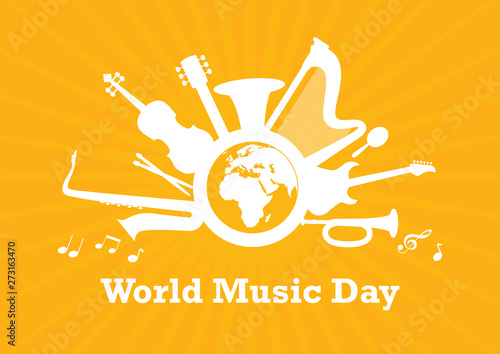 World Music Day with musical instruments vector Canvas Print