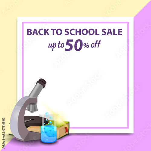 Back to school sale, template for discount banner in the