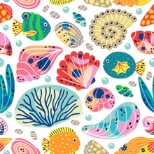 White Seamless Pattern With Underwater Sea Life - Vector Illustration, Eps