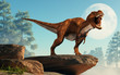 A brown and white tyrannosaurus rex roars at you. This dangerous carnivorous dinosaur of the Cretaceous period looks angry. In front of the Moon. 3D Rendering