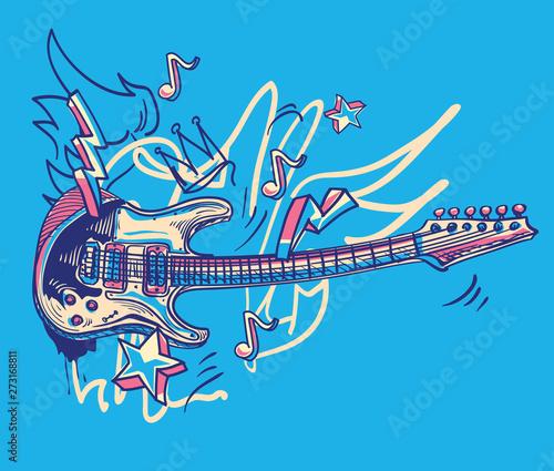 Plakaty Instrumenty Muzyczne   drawn-funky-guitar-music-graffiti
