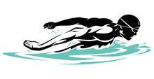 Swimmer In Surface Water, Butterfly Swim Stroke