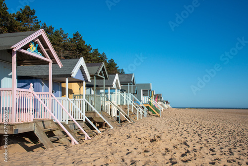 Photo  Side view of Beach Huts in Norfolk