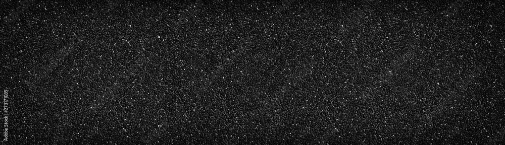 Fototapety, obrazy: Black stone wall wide texture. Anthracite surface panorama. Dark pebble dash panoramic background