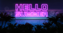 Hello Summer Neon Title Above Ocean And Tropical Palm Trees