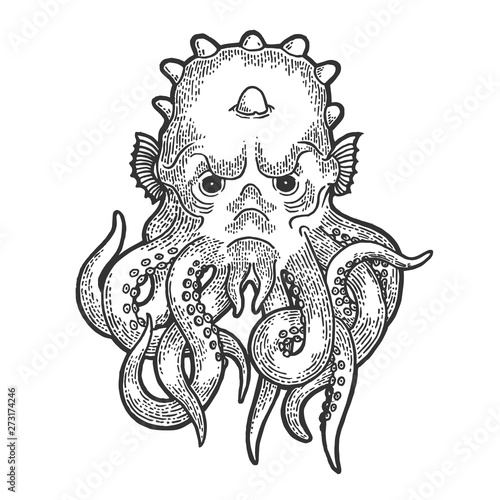 Cthulhu head myth creature sketch engraving vector illustration Canvas Print