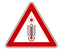 Verkehrsschild Hitze Auf Weiß