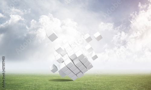 Abstract flying white cubes...