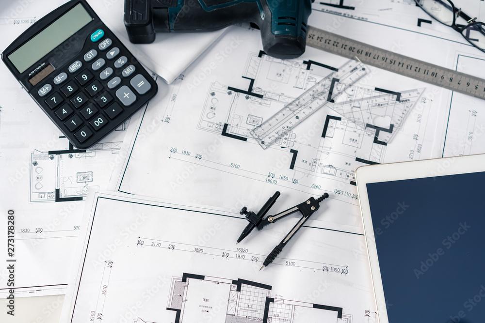 Fototapeta blueprint on designer's desk