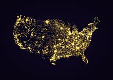 Usa America Map Night Light Effect Vector