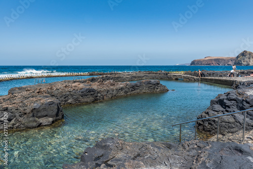 PUERTO DE LAS NIEVES, GRAN CANARIA, SPAIN - MARCH 11, 2019: Natural pool Las Salinas de Agaete in Puerto de Las Nieves. Copy space for text.