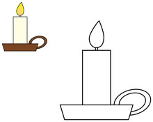 Candle In Candlestick Clipart. Coloring Book For Children. Vector Illustration.