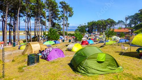 Poster Camping Cies Islands. Atlantic National Park. Vigo. Galicia,Spain